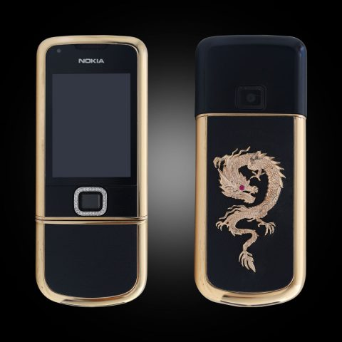 Nokia 8800E Rose Gold điểm đá (da đen) phiên bản rồng